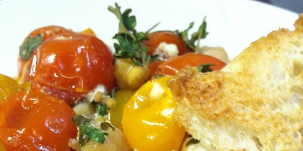 Roasted Tomatoes with Melty Goat Cheese