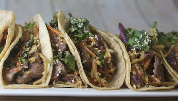 Kung Pao Steak Tacos